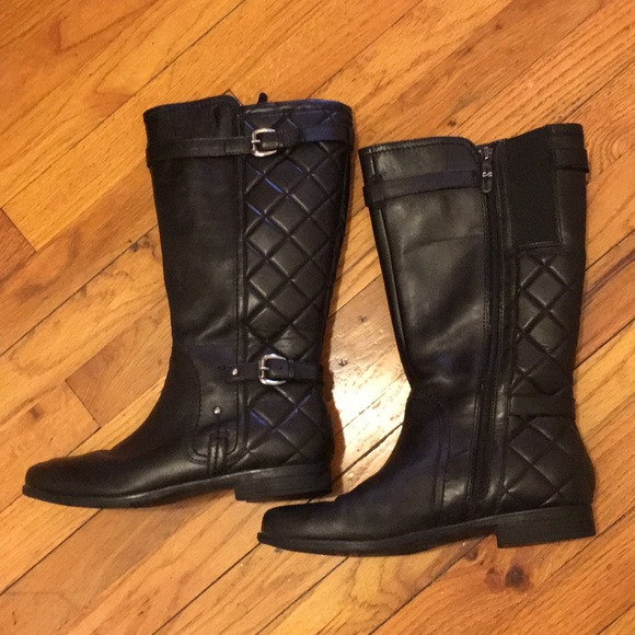 a87f7787efac Earthies Shoes - Black Leather Quilted Boots